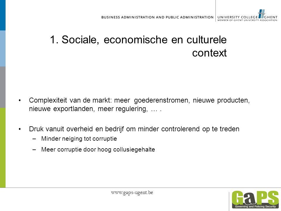 1. Sociale, economische en culturele context Complexiteit van de markt: meer goederenstromen, nieuwe producten, nieuwe exportlanden, meer regulering,