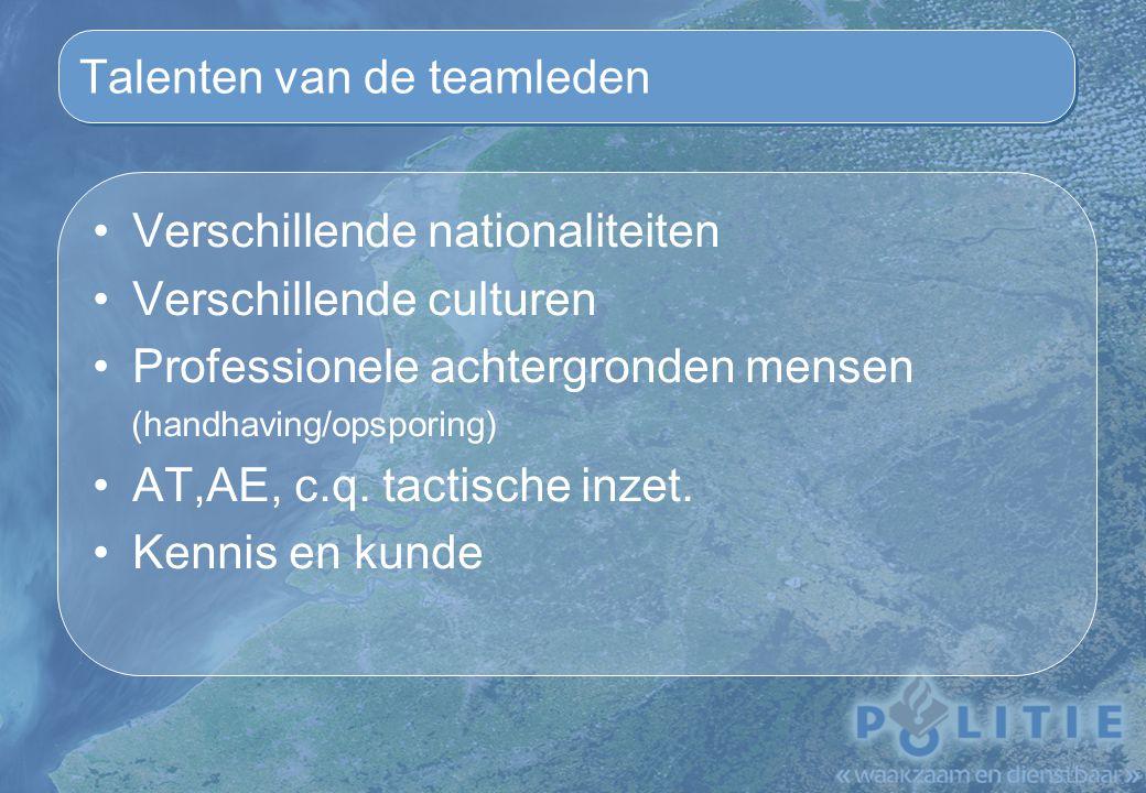 Talenten van de teamleden Verschillende nationaliteiten Verschillende culturen Professionele achtergronden mensen (handhaving/opsporing) AT,AE, c.q.