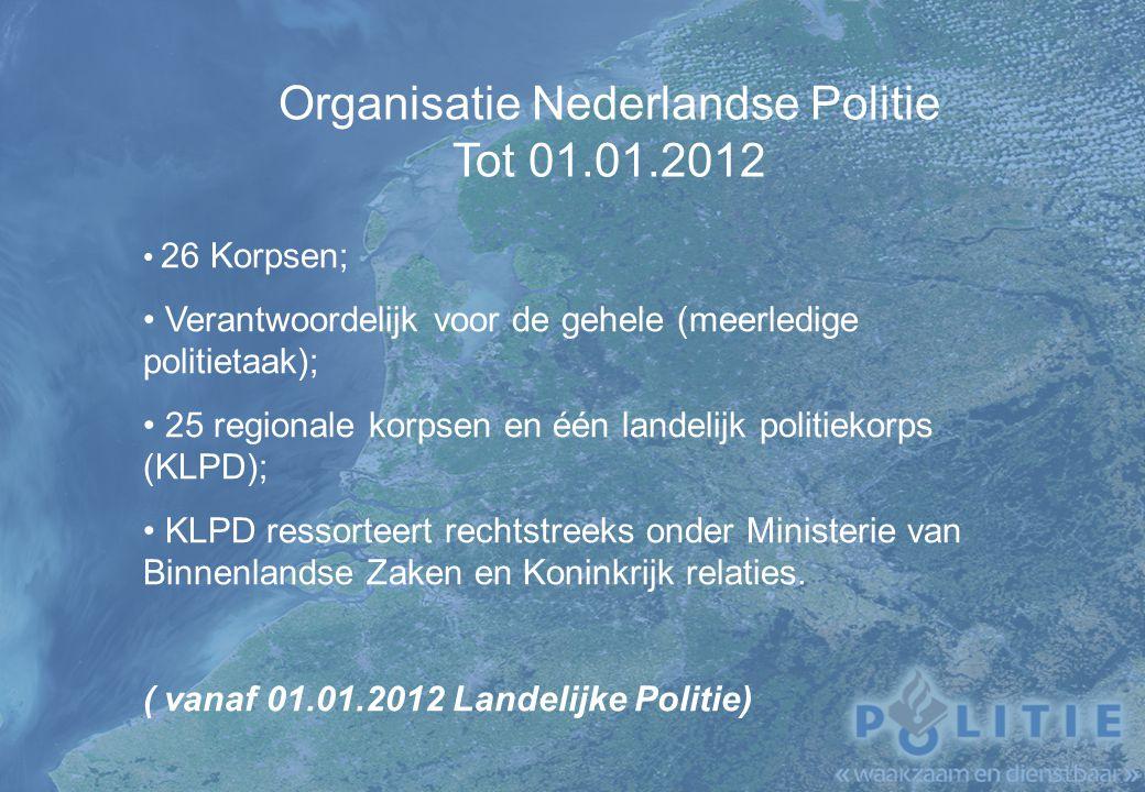 Organisatie Nederlandse Politie Tot 01.01.2012 26 Korpsen; Verantwoordelijk voor de gehele (meerledige politietaak); 25 regionale korpsen en één landelijk politiekorps (KLPD); KLPD ressorteert rechtstreeks onder Ministerie van Binnenlandse Zaken en Koninkrijk relaties.