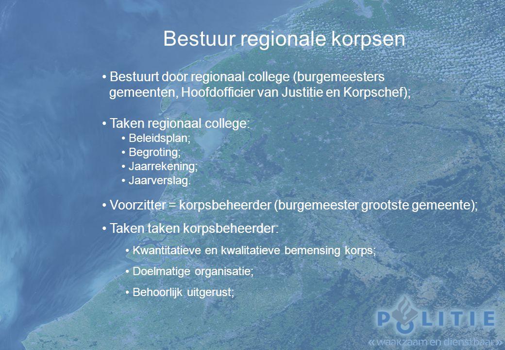 Bestuur regionale korpsen Bestuurt door regionaal college (burgemeesters gemeenten, Hoofdofficier van Justitie en Korpschef); Taken regionaal college: Beleidsplan; Begroting; Jaarrekening; Jaarverslag.