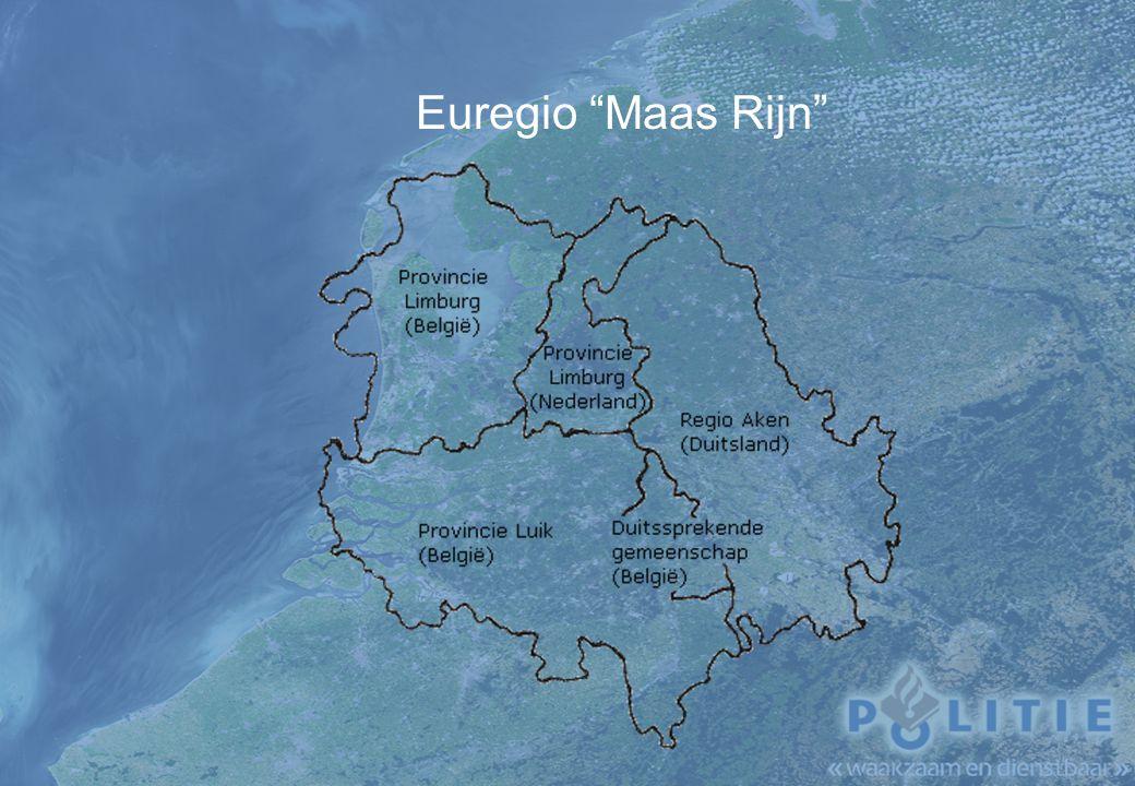Organisatie Regiopolitie Limburg-Zuid 1750 medewerkers; 13 basiseenheden, onderverdeeld in vier districten; veel voorkomende criminaliteit, verkeerszaken, hulpverlening enz.