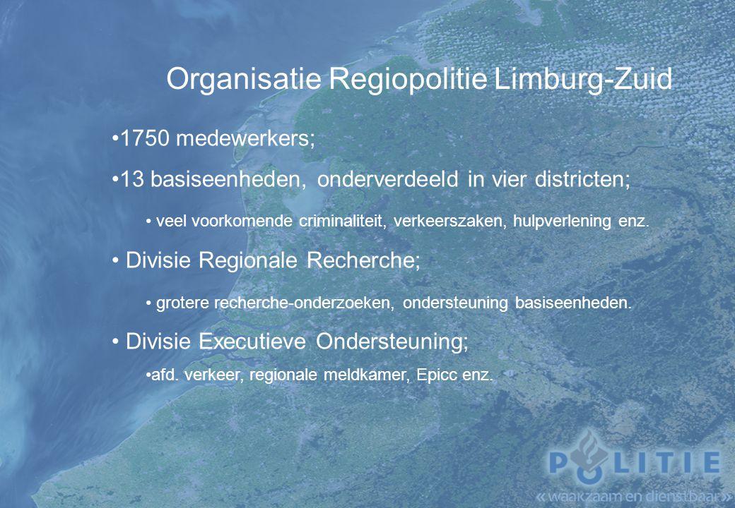 Drugsbestrijding Limburg-Zuid Lokale politie, basiseenheden; Speciale teams, projectteams; Recherche, district en divisie; Nationale recherche; Joint Hit Team