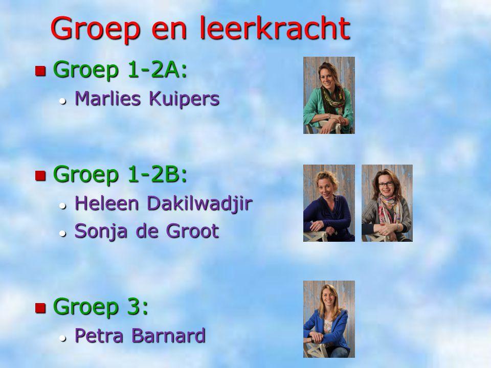 Groep en leerkracht Groep 1-2A: Groep 1-2A: ● Marlies Kuipers Groep 1-2B: Groep 1-2B: ● Heleen Dakilwadjir ● Sonja de Groot Groep 3: Groep 3: ● Petra