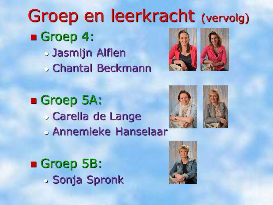 Groep en leerkracht (vervolg) Groep 4: Groep 4: ● Jasmijn Alflen ● Chantal Beckmann Groep 5A: Groep 5A: ● Carella de Lange ● Annemieke Hanselaar Groep
