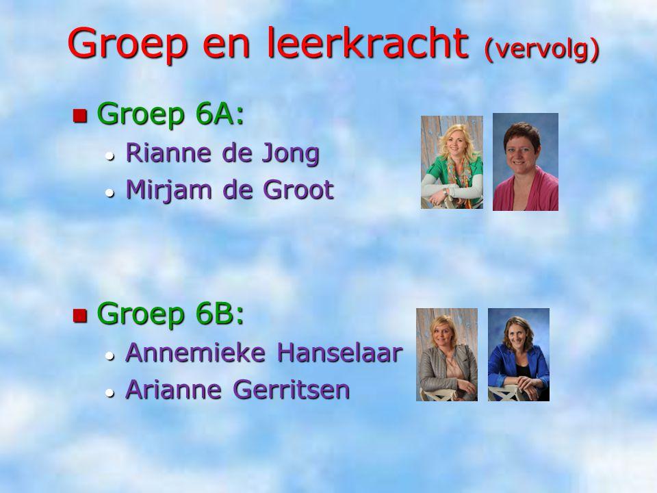 Groep en leerkracht (vervolg) Groep 6A: Groep 6A: ● Rianne de Jong ● Mirjam de Groot Groep 6B: Groep 6B: ● Annemieke Hanselaar ● Arianne Gerritsen