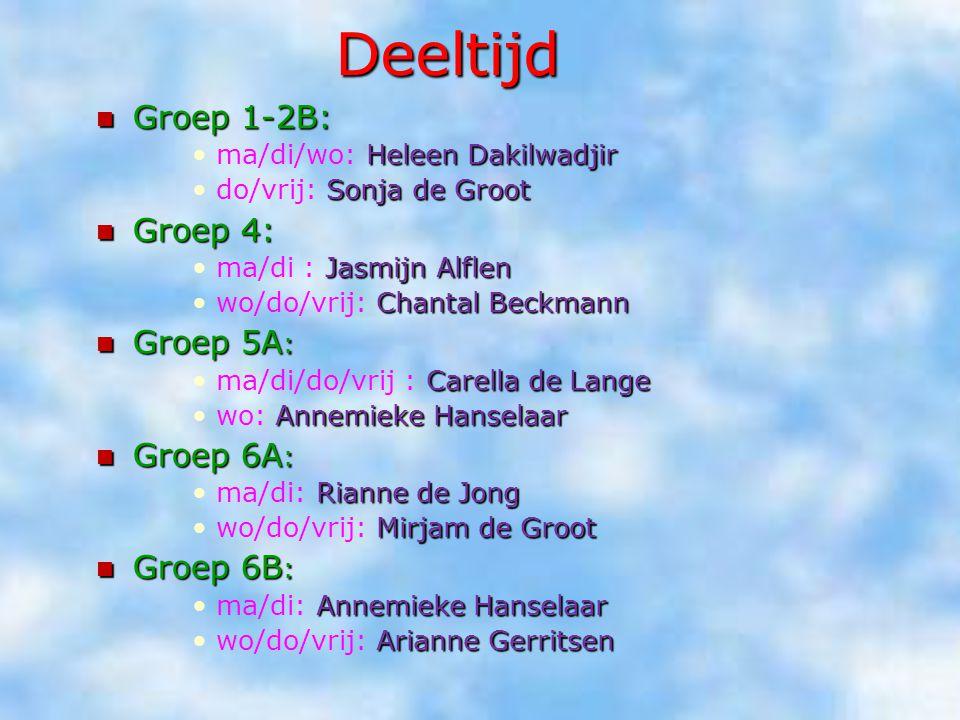 Deeltijd Groep 1-2B: Groep 1-2B: Heleen Dakilwadjirma/di/wo: Heleen Dakilwadjir Sonja de Grootdo/vrij: Sonja de Groot Groep 4: Groep 4: Jasmijn Alflen