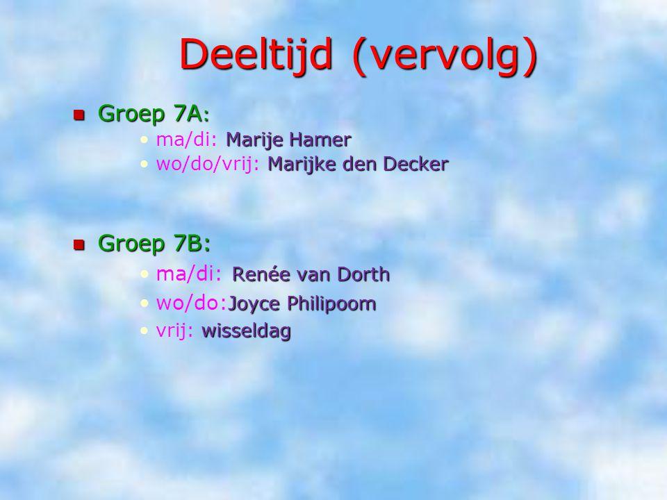 Deeltijd (vervolg) Groep 7A : Groep 7A : Marije Hamerma/di: Marije Hamer Marijke den Deckerwo/do/vrij: Marijke den Decker Groep 7B: Groep 7B: Renée va