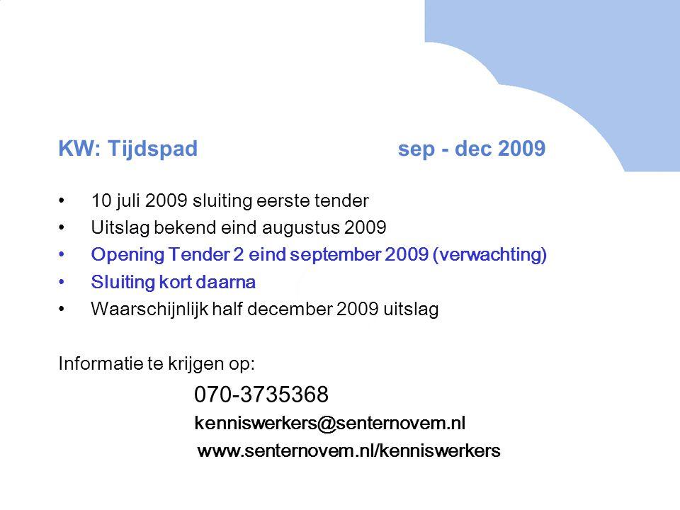 KW: Tijdspadsep - dec 2009 10 juli 2009 sluiting eerste tender Uitslag bekend eind augustus 2009 Opening Tender 2 eind september 2009 (verwachting) Sluiting kort daarna Waarschijnlijk half december 2009 uitslag Informatie te krijgen op: 070-3735368 kenniswerkers@senternovem.nl www.senternovem.nl/kenniswerkers