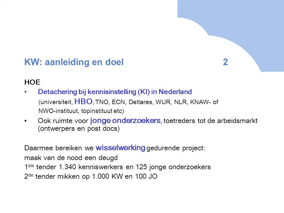 KW: aanleiding en doel 2 HOE Detachering bij kennisinstelling (KI) in Nederland (universiteit, HBO, TNO, ECN, Deltares, WUR, NLR, KNAW- of NWO-instituut, topinstituut etc) Ook ruimte voor jonge onderzoekers, toetreders tot de arbeidsmarkt (ontwerpers en post docs) Daarmee bereiken we wisselwerking gedurende project: maak van de nood een deugd 1 ste tender 1.340 kenniswerkers en 125 jonge onderzoekers 2 de tender mikken op 1.000 KW en 100 JO