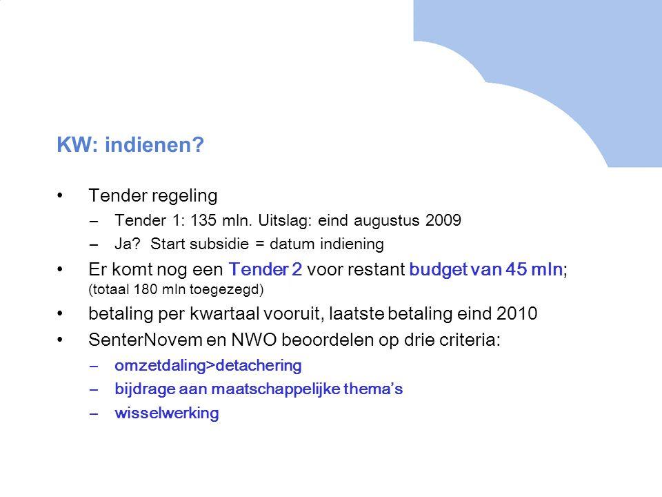 KW: indienen. Tender regeling –Tender 1: 135 mln.