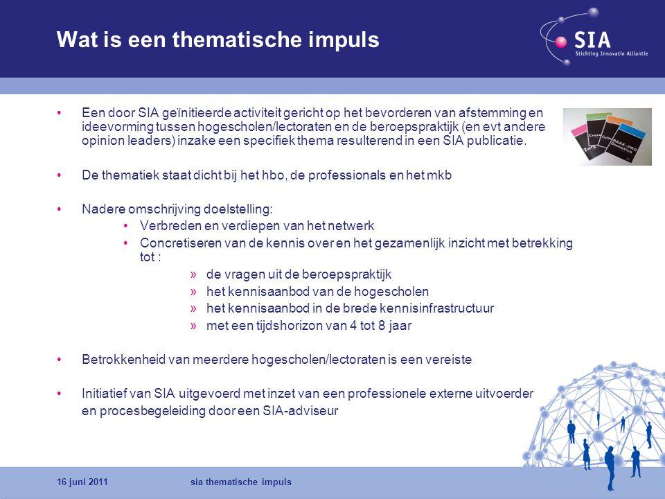 16 juni 2011sia thematische impuls Waarom Thematische Impulsen Uitgangspunt: Hogescholen/lectoraten kunnen door deelname in TI kennis, visies en netwerken met elkaar te delen.