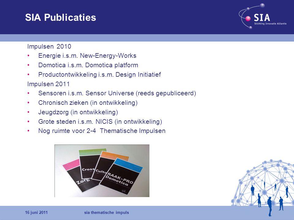 16 juni 2011sia thematische impuls Inhoud van de publicatie Colofon Melding schrijvers rapport, redactieteam, ontwerper Algemene inleiding.