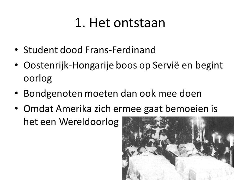 1. Het ontstaan Student dood Frans-Ferdinand Oostenrijk-Hongarije boos op Servië en begint oorlog Bondgenoten moeten dan ook mee doen Omdat Amerika zi