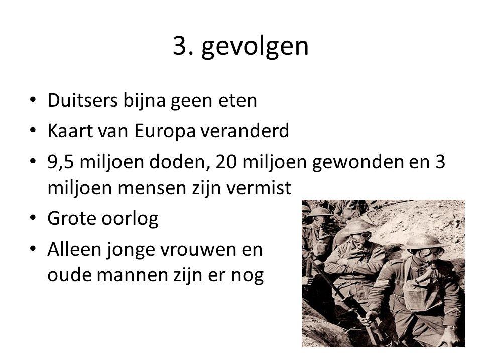 3. gevolgen Duitsers bijna geen eten Kaart van Europa veranderd 9,5 miljoen doden, 20 miljoen gewonden en 3 miljoen mensen zijn vermist Grote oorlog A