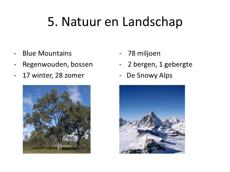 5. Natuur en Landschap -78 miljoen -2 bergen, 1 gebergte - De Snowy Alps -Blue Mountains -Regenwouden, bossen -17 winter, 28 zomer