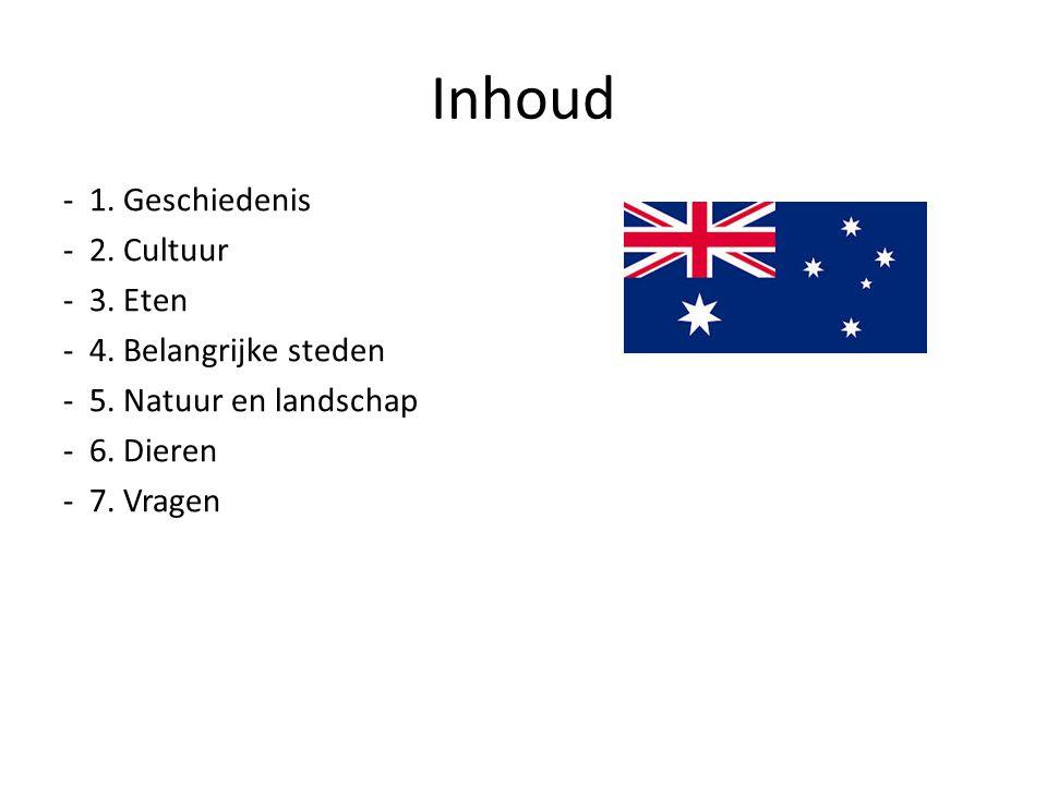 1. Geschiedenis - Eerste bewoners - Azie - 50.000 – 120.000 -1770 -James Cook -Britse koning