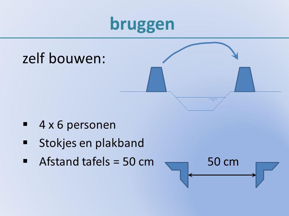 bruggen zelf bouwen:  4 x 6 personen  Stokjes en plakband  Afstand tafels = 50 cm 50 cm