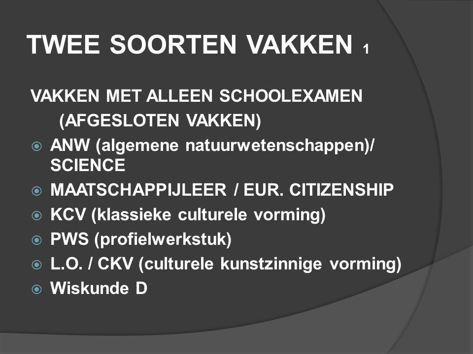 TWEE SOORTEN VAKKEN 1 VAKKEN MET ALLEEN SCHOOLEXAMEN (AFGESLOTEN VAKKEN)  ANW (algemene natuurwetenschappen)/ SCIENCE  MAATSCHAPPIJLEER / EUR. CITIZ