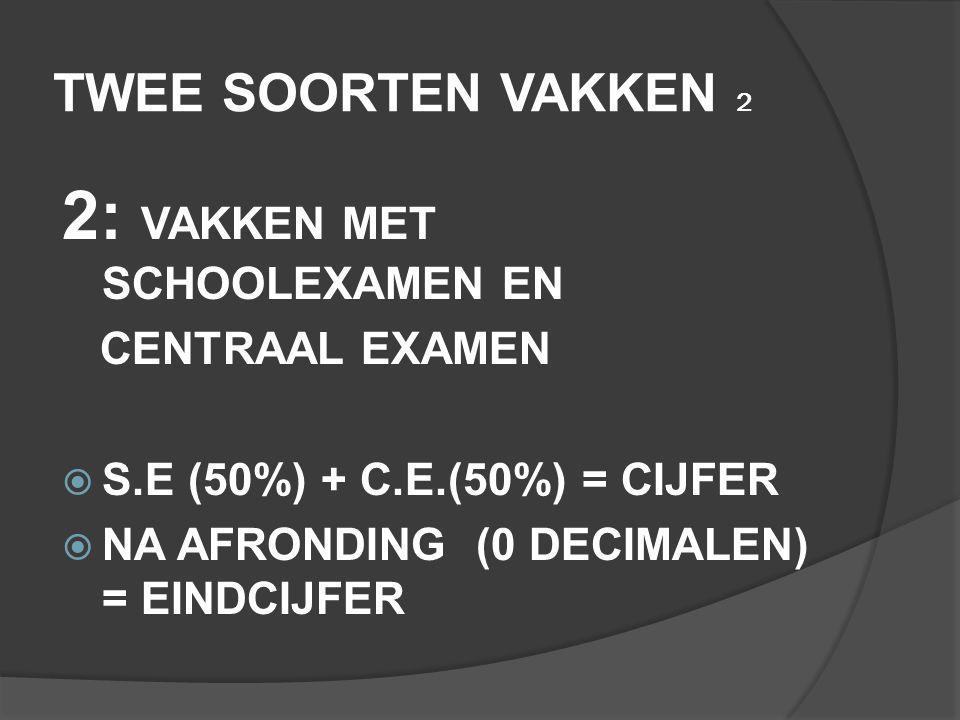 TWEE SOORTEN VAKKEN 2 2: VAKKEN MET SCHOOLEXAMEN EN CENTRAAL EXAMEN  S.E (50%) + C.E.(50%) = CIJFER  NA AFRONDING (0 DECIMALEN) = EINDCIJFER