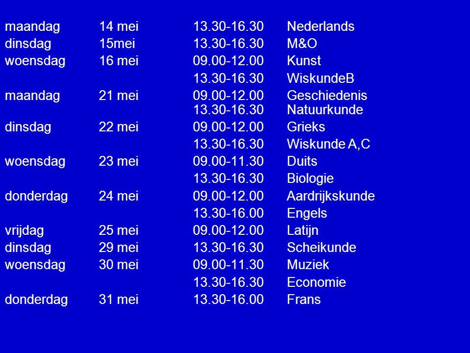maandag 14 mei13.30-16.30 Nederlands dinsdag15mei13.30-16.30 M&O woensdag 16 mei 09.00-12.00 Kunst 13.30-16.30 WiskundeB maandag 21 mei09.00-12.00 Geschiedenis 13.30-16.30 Natuurkunde dinsdag 22 mei09.00-12.00 Grieks 13.30-16.30 Wiskunde A,C woensdag 23 mei 09.00-11.30 Duits 13.30-16.30 Biologie donderdag 24 mei 09.00-12.00 Aardrijkskunde 13.30-16.00 Engels vrijdag 25 mei09.00-12.00 Latijn dinsdag 29 mei13.30-16.30 Scheikunde woensdag 30 mei 09.00-11.30 Muziek 13.30-16.30 Economie donderdag 31 mei13.30-16.00Frans