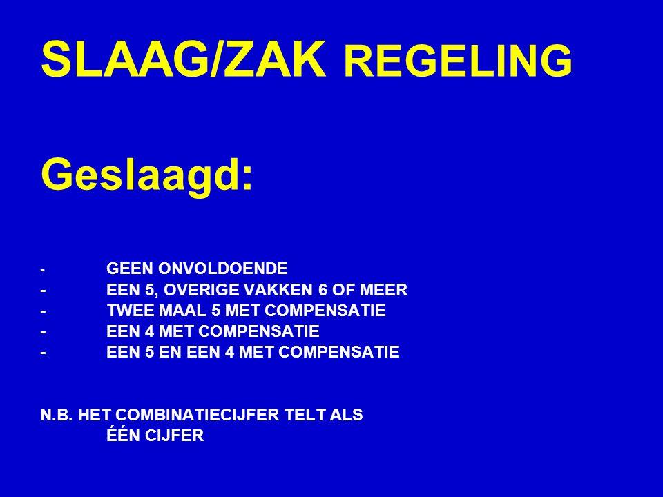 SLAAG/ZAK REGELING Geslaagd: - GEEN ONVOLDOENDE -EEN 5, OVERIGE VAKKEN 6 OF MEER -TWEE MAAL 5 MET COMPENSATIE -EEN 4 MET COMPENSATIE -EEN 5 EN EEN 4 MET COMPENSATIE N.B.