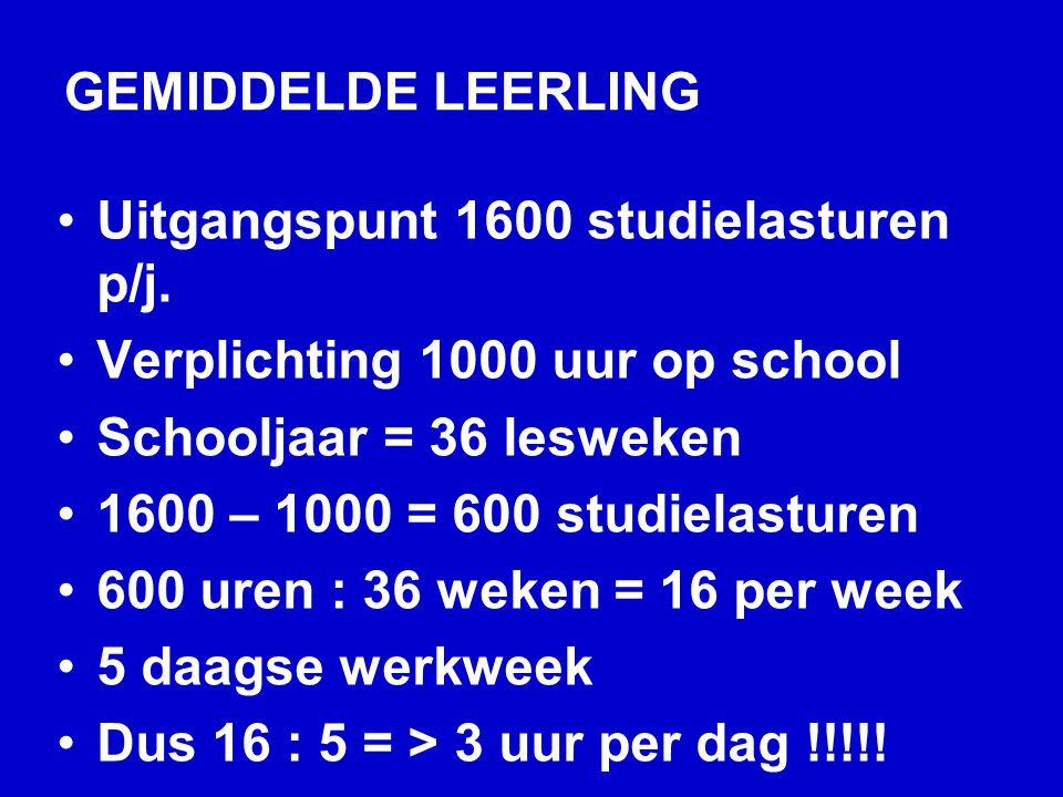 GEMIDDELDE LEERLING Uitgangspunt 1600 studielasturen p/j.