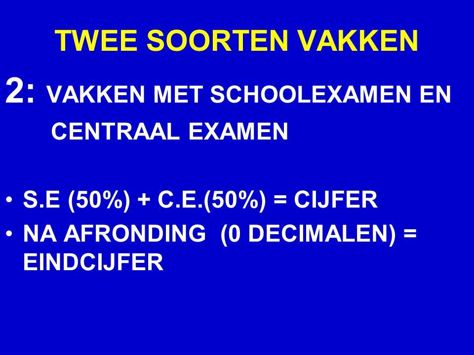 TWEE SOORTEN VAKKEN 2: VAKKEN MET SCHOOLEXAMEN EN CENTRAAL EXAMEN S.E (50%) + C.E.(50%) = CIJFER NA AFRONDING (0 DECIMALEN) = EINDCIJFER