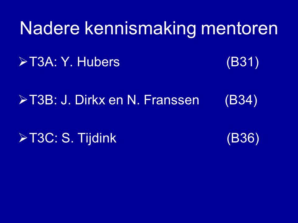 Nadere kennismaking mentoren  T3A: Y. Hubers (B31)  T3B: J. Dirkx en N. Franssen (B34)  T3C: S. Tijdink (B36)