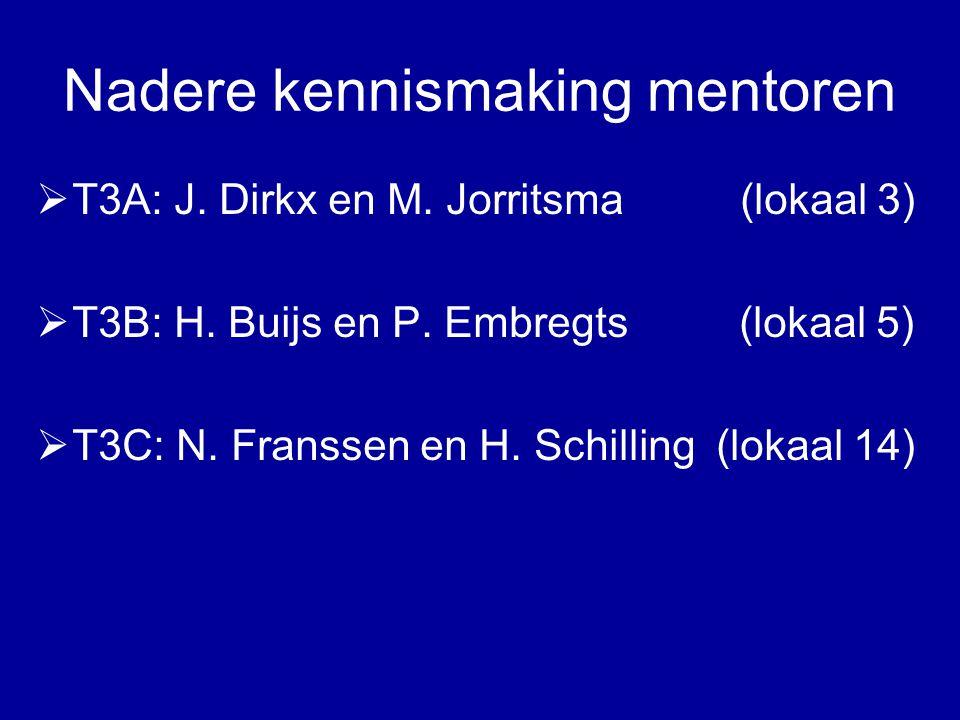 Nadere kennismaking mentoren  T3A: J. Dirkx en M.