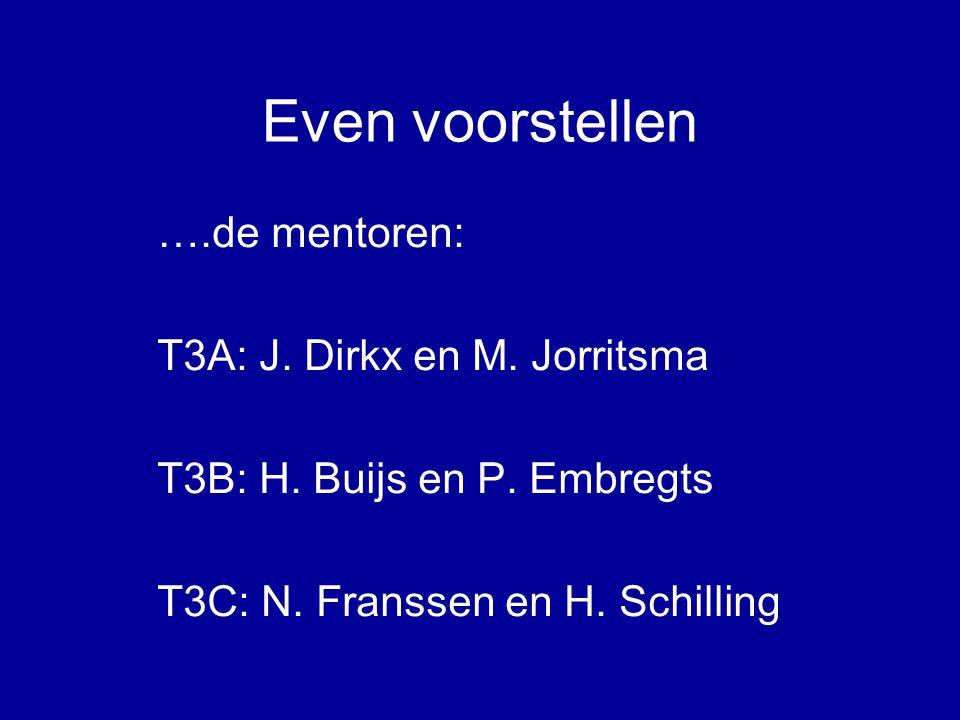 Even voorstellen ….de mentoren: T3A: J. Dirkx en M.