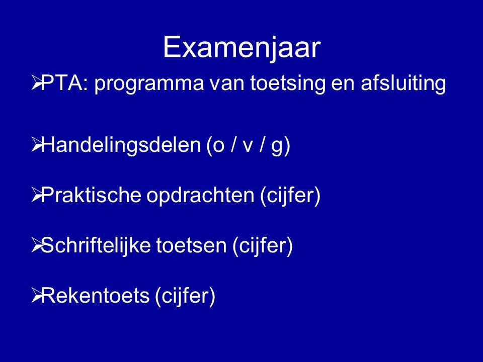 Examenjaar  PTA: programma van toetsing en afsluiting  Handelingsdelen (o / v / g)  Praktische opdrachten (cijfer)  Schriftelijke toetsen (cijfer)  Rekentoets (cijfer)