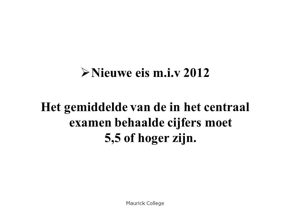 Maurick College  Nieuwe eis m.i.v 2012 Het gemiddelde van de in het centraal examen behaalde cijfers moet 5,5 of hoger zijn.