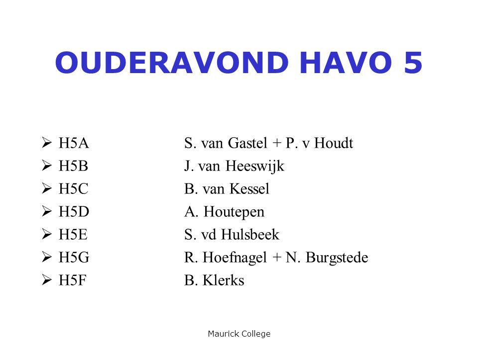 Maurick College OUDERAVOND HAVO 5  H5AS. van Gastel + P. v Houdt  H5BJ. van Heeswijk  H5CB. van Kessel  H5DA. Houtepen  H5ES. vd Hulsbeek  H5GR.