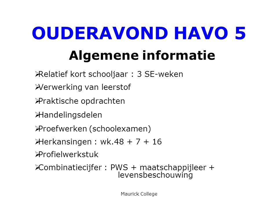 Maurick College OUDERAVOND HAVO 5 Algemene informatie  Relatief kort schooljaar : 3 SE-weken  Verwerking van leerstof  Praktische opdrachten  Hand
