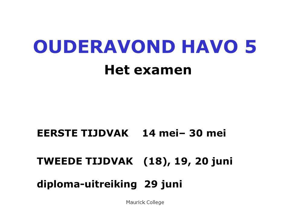 Maurick College OUDERAVOND HAVO 5 Het examen EERSTE TIJDVAK 14 mei– 30 mei TWEEDE TIJDVAK (18), 19, 20 juni diploma-uitreiking 29 juni