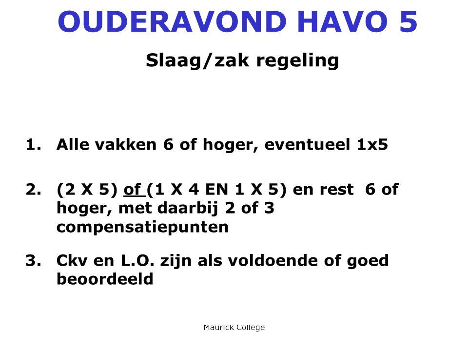 Maurick College OUDERAVOND HAVO 5 Slaag/zak regeling 1.Alle vakken 6 of hoger, eventueel 1x5 2.(2 X 5) of (1 X 4 EN 1 X 5) en rest 6 of hoger, met daarbij 2 of 3 compensatiepunten 3.Ckv en L.O.