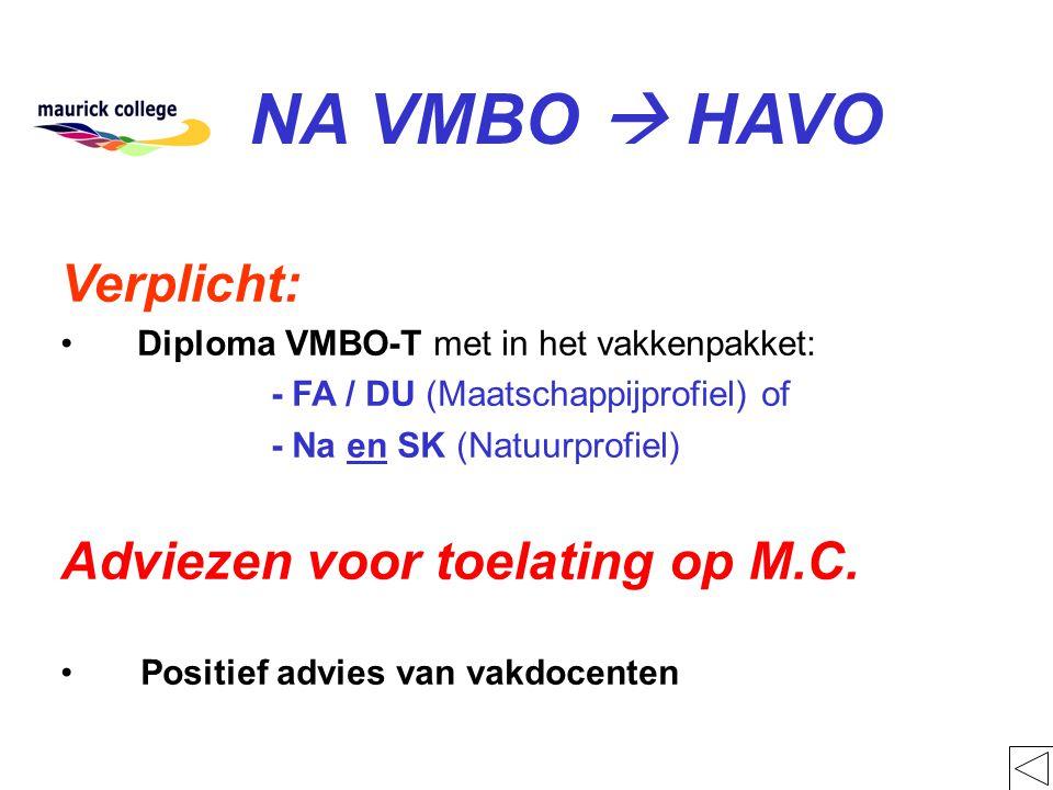 NA VMBO  HAVO Verplicht: Diploma VMBO-T met in het vakkenpakket: - FA / DU (Maatschappijprofiel) of - Na en SK (Natuurprofiel) Adviezen voor toelatin