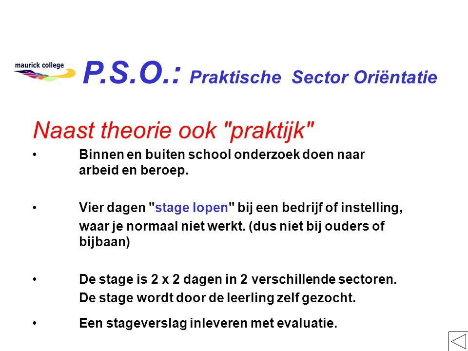 P.S.O.: Praktische Sector Oriëntatie Naast theorie ook