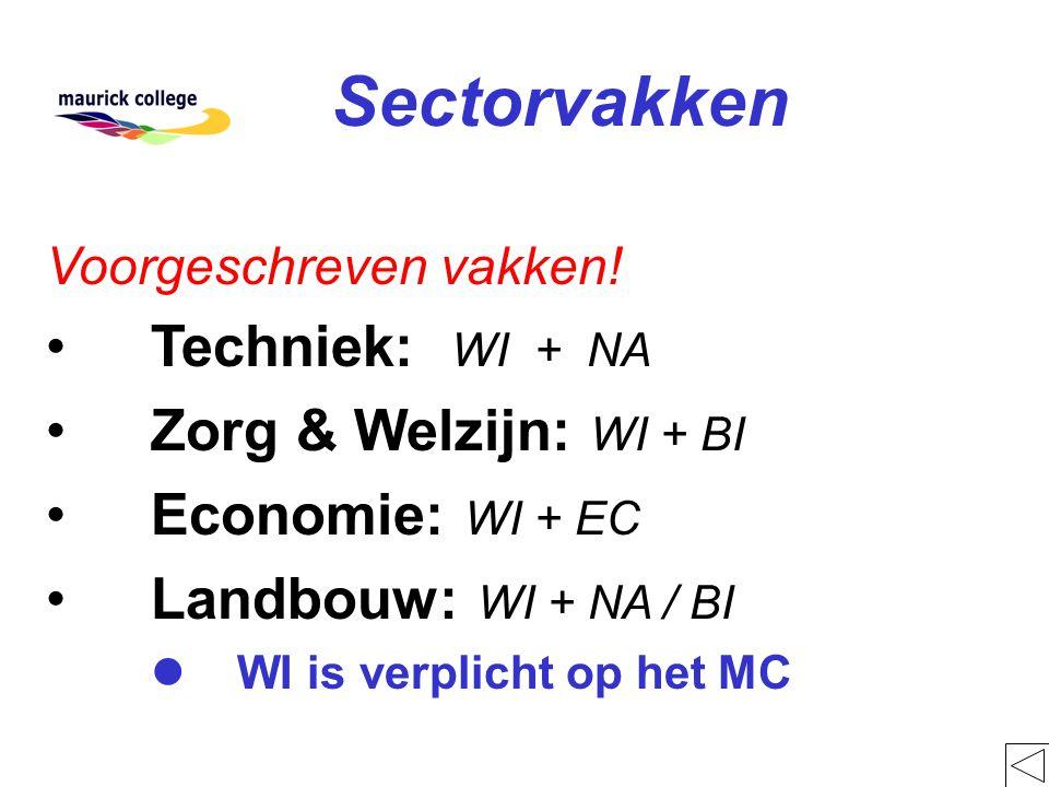 Sectorvakken Voorgeschreven vakken! Techniek: WI + NA Zorg & Welzijn: WI + BI Economie: WI + EC Landbouw: WI + NA / BI l WI is verplicht op het MC
