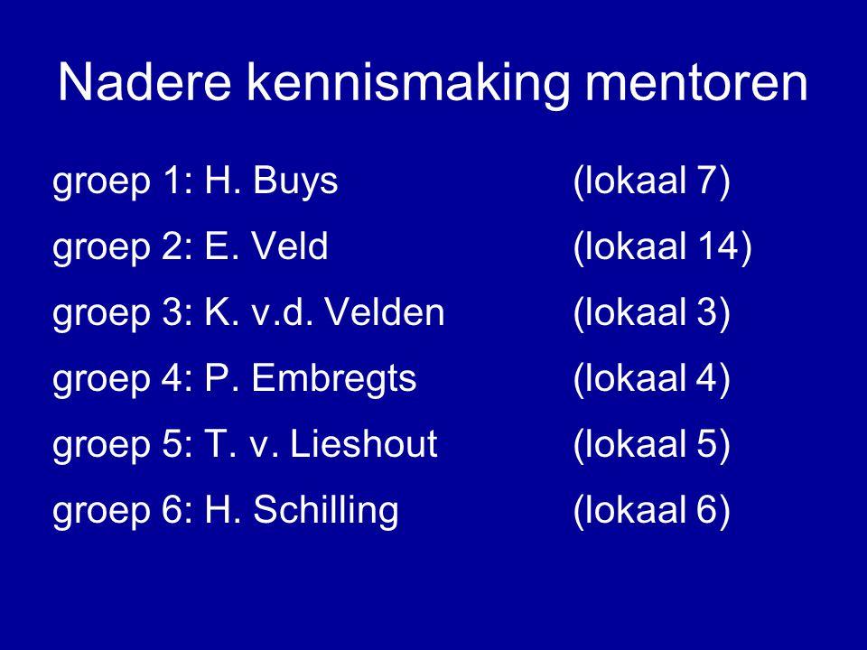 Nadere kennismaking mentoren groep 1: H. Buys(lokaal 7) groep 2: E.