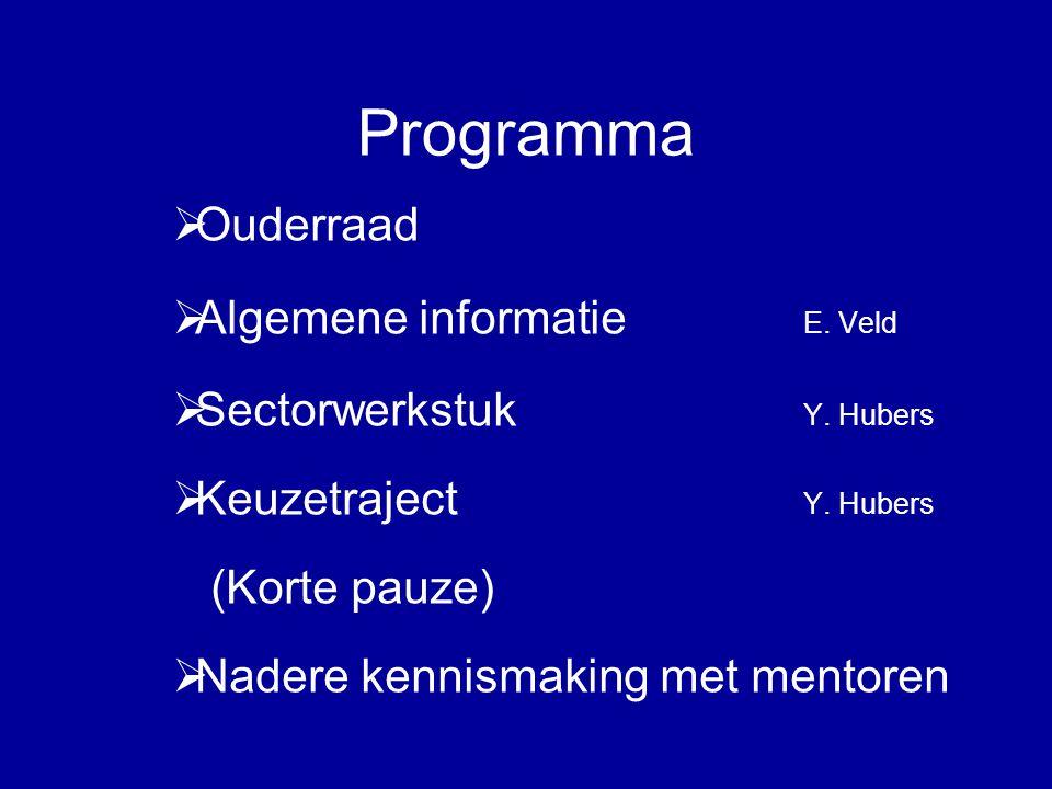 Programma  Ouderraad  Algemene informatie E. Veld  Sectorwerkstuk Y.