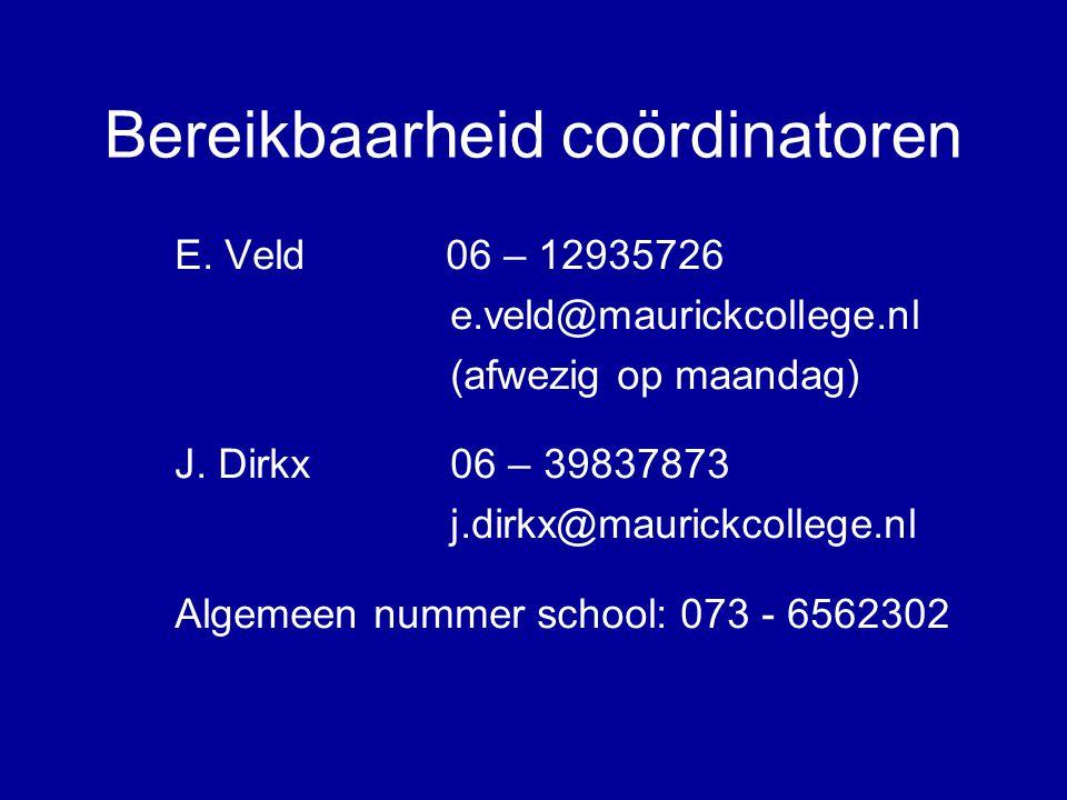 Bereikbaarheid coördinatoren E. Veld 06 – 12935726 e.veld@maurickcollege.nl (afwezig op maandag) J.