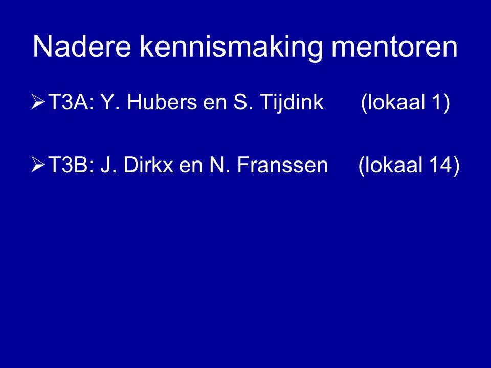 Nadere kennismaking mentoren  T3A: Y. Hubers en S.