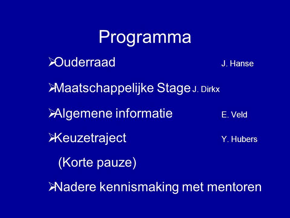 Programma  Ouderraad J. Hanse  Maatschappelijke Stage J.