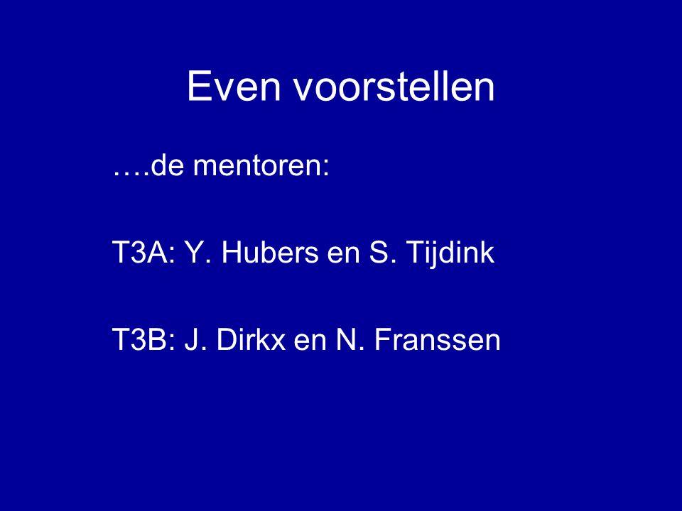 Even voorstellen ….de mentoren: T3A: Y. Hubers en S. Tijdink T3B: J. Dirkx en N. Franssen