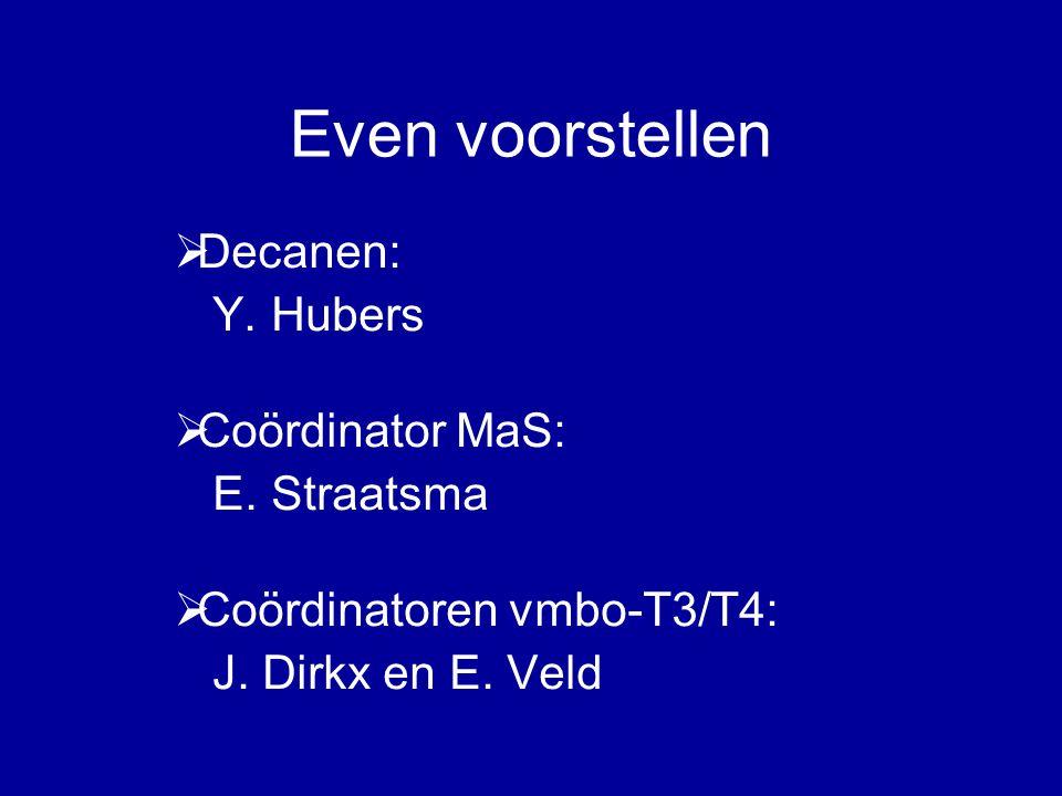 Even voorstellen  Decanen: Y. Hubers  Coördinator MaS: E.