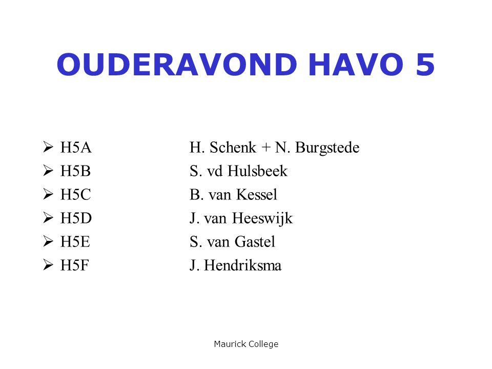Maurick College OUDERAVOND HAVO 5  H5AH. Schenk + N.