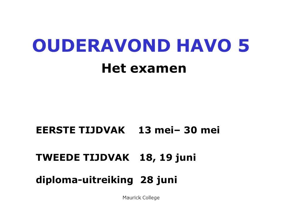 Maurick College OUDERAVOND HAVO 5 Het examen EERSTE TIJDVAK 13 mei– 30 mei TWEEDE TIJDVAK 18, 19 juni diploma-uitreiking 28 juni