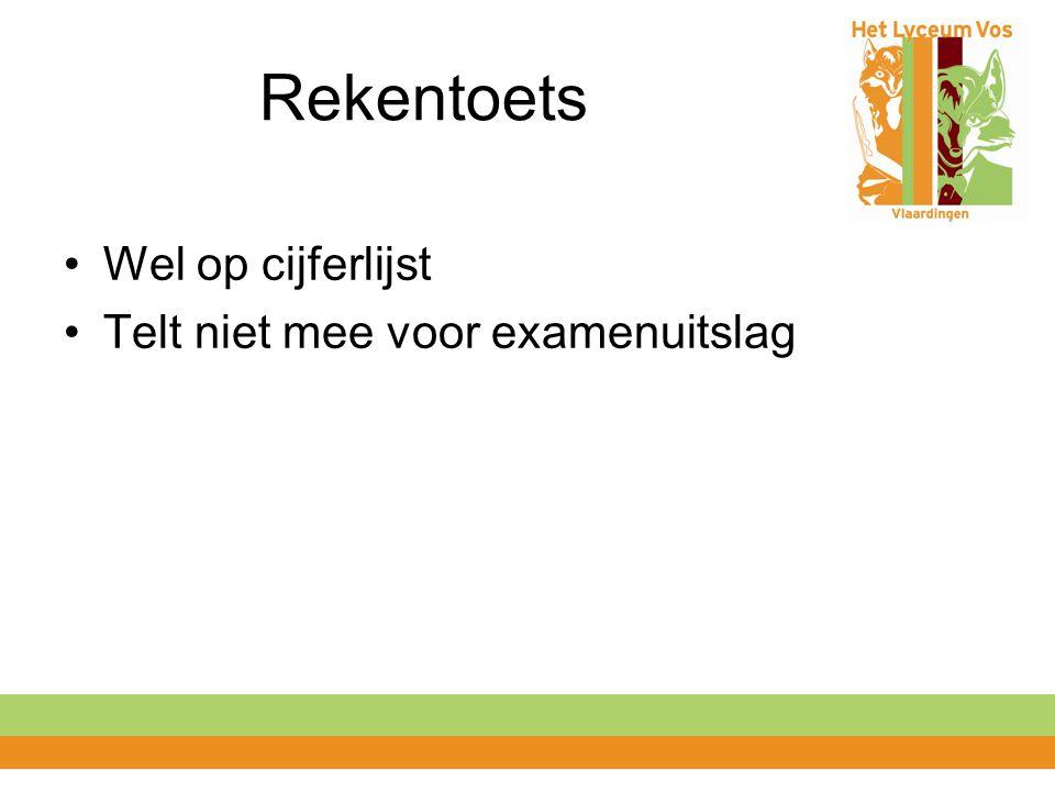 Rekentoets Wel op cijferlijst Telt niet mee voor examenuitslag