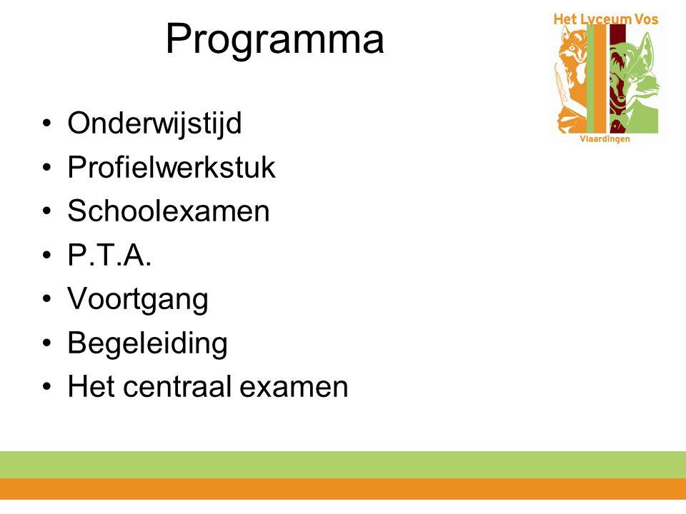 Programma Onderwijstijd Profielwerkstuk Schoolexamen P.T.A.